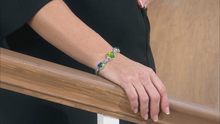 Green Peridot Triplet Silver Bracelet