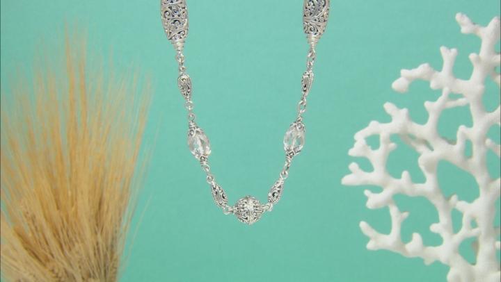 White Quartz Rock Crystal Silver Necklace 10.96ctw