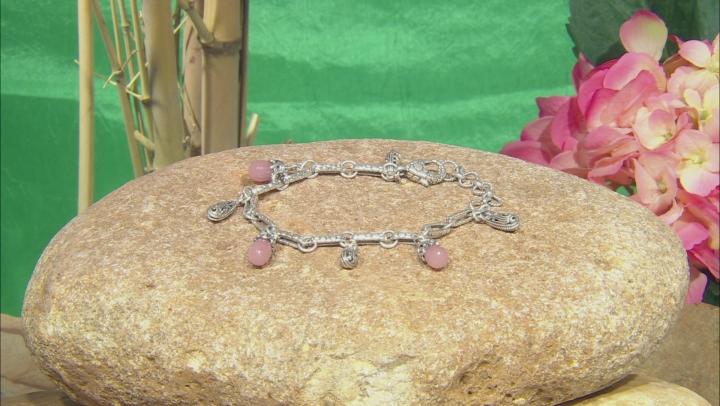 Pink Guava Quartz Sterling Silver Bracelet