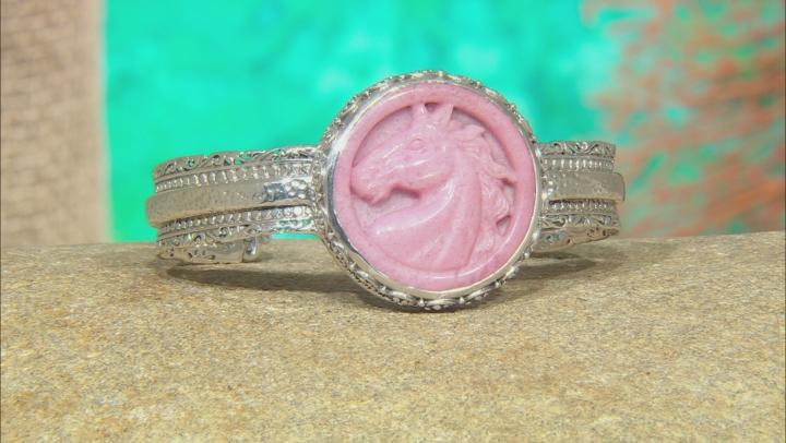 Pink Rhodonite Horse Silver Cuff Bracelet