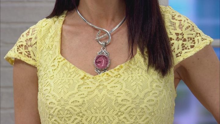 Pink Rhodonite Horse Silver Pendant