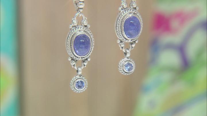 Blue Tanzanite Silver Earrings 0.12ctw