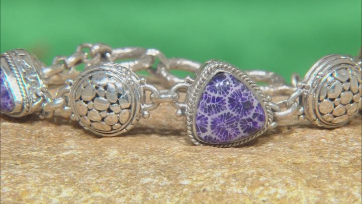 Purple Indonesian Coral Silver Bracelet