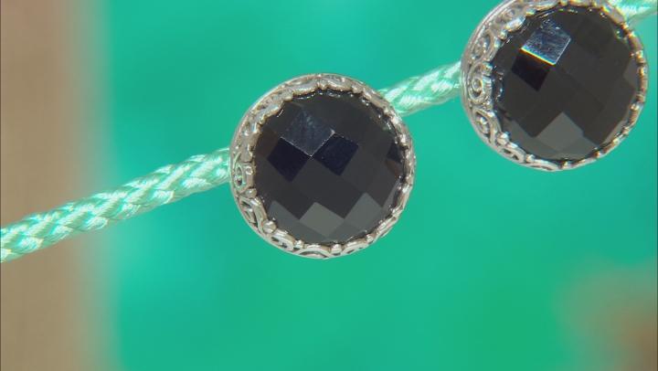 Black Spinel Silver Stud Earrings 8.68ctw
