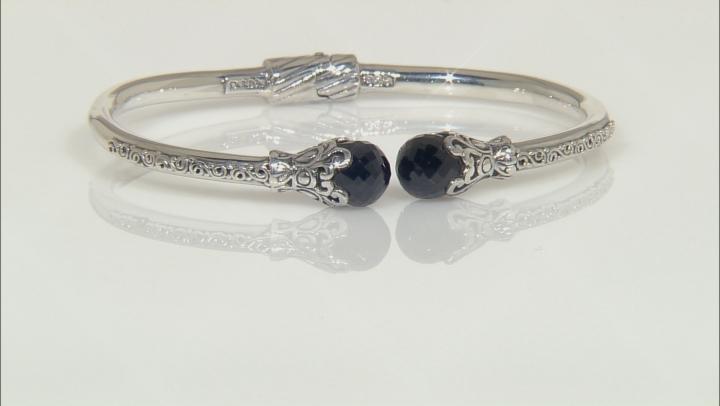 Black Spinel Sterling Silver Hinged Bangle Bracelet 11.80ctw