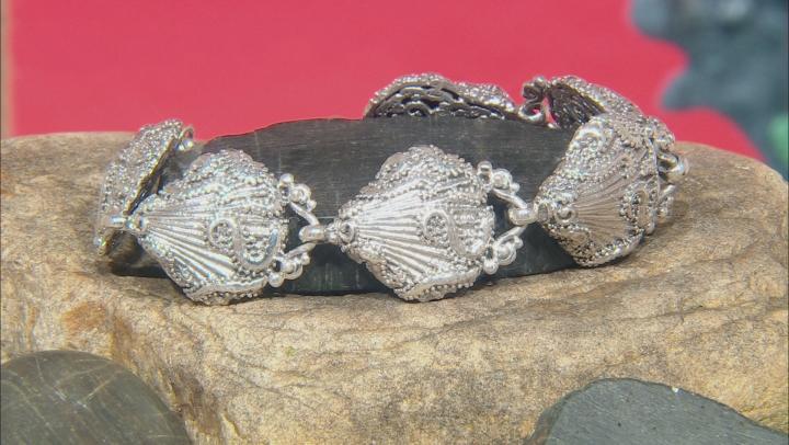 Sterling Silver Filigree Seashell Bracelet