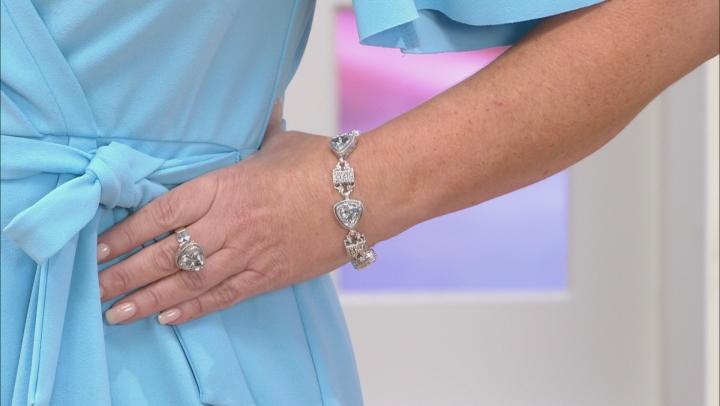 White Quartz Flower Silver Bracelet 12.42ctw