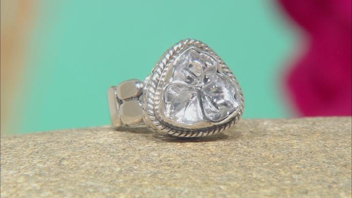 White Quartz Flower Silver Ring 5.44ctw