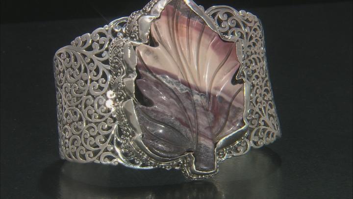 Multicolor Porcelain Jasper Silver Leaf Bracelet