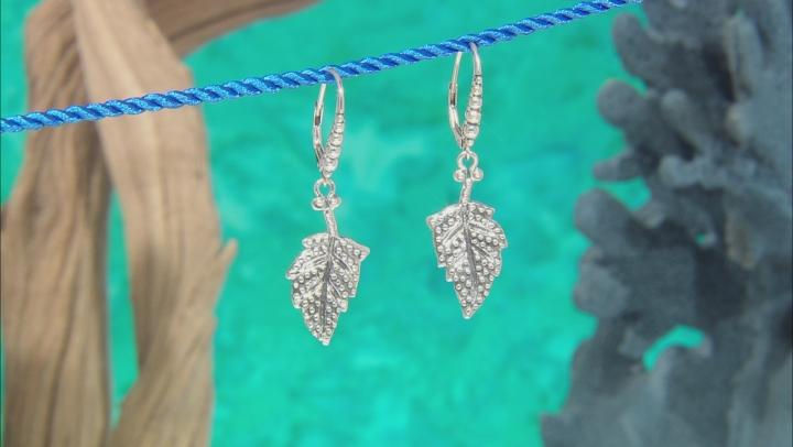 Sterling Silver Leaf Dangle Earrings