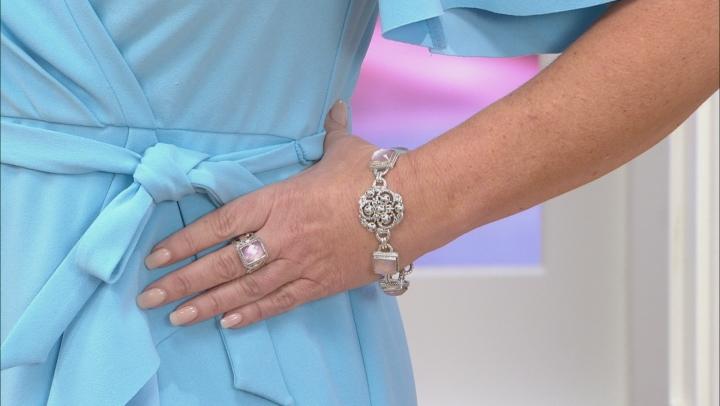 Pink Rose Quartz Doublet Silver Bracelet