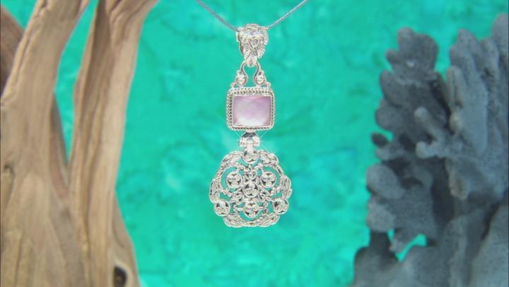 Pink Rose Quartz Doublet Silver Pendant