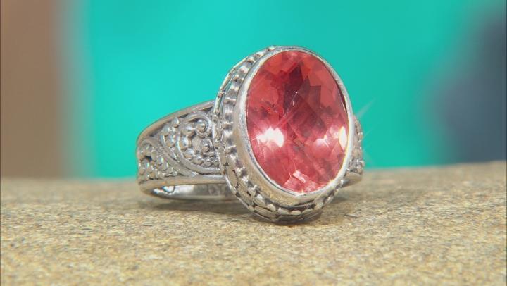Pink Melon Quartz Triplet Silver Solitaire Ring