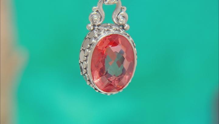 Pink Melon Quartz Triplet Silver Pendant