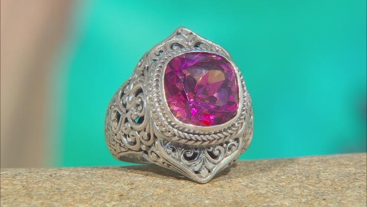 Extreme Pink™ Quartz Silver Solitaire Ring 5.53ctw