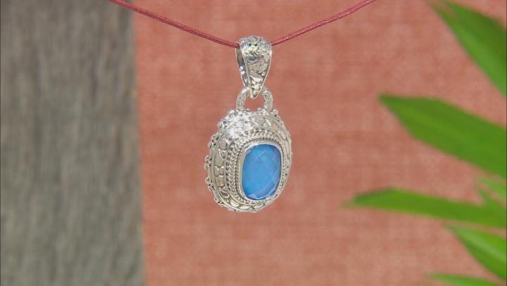 Blue Quartz Triplet Silver Pendant