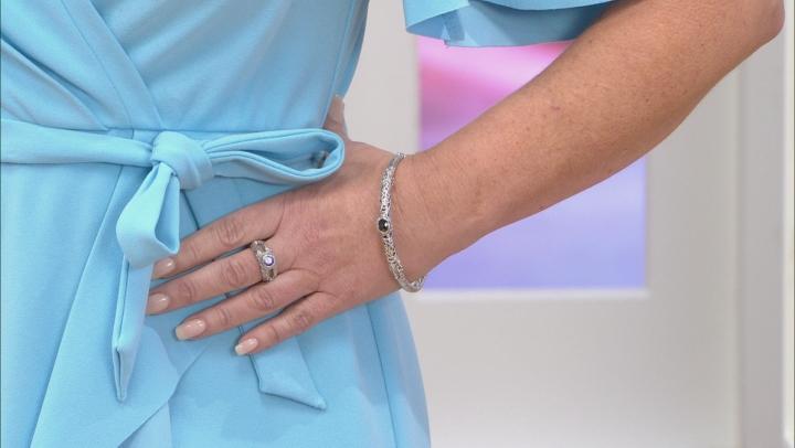 Black Spinel Silver Bangle Bracelet 2.22ctw