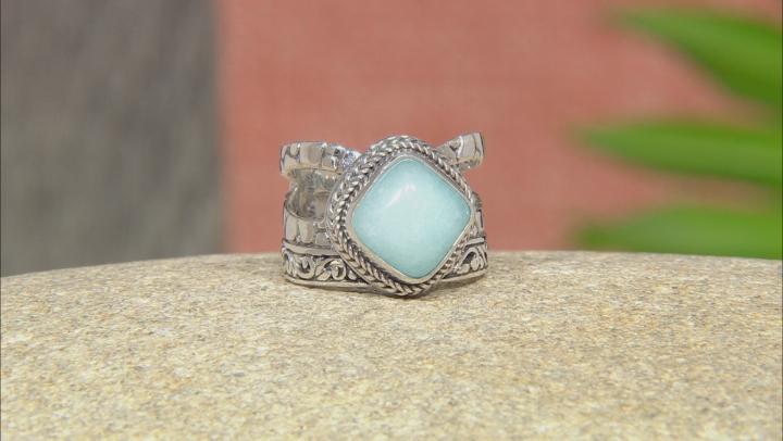 Aqua Blue Quartzite Silver Ring