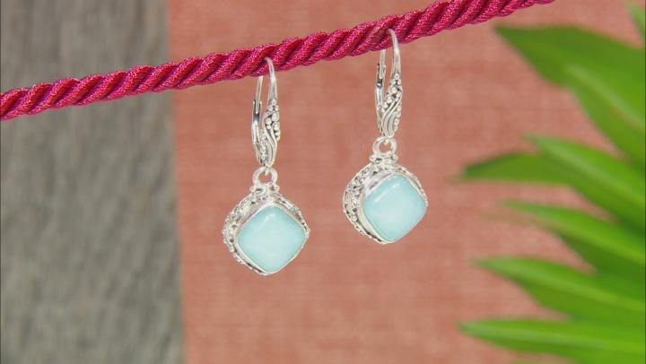 Aqua Blue Quartzite Silver Dangle Earrings