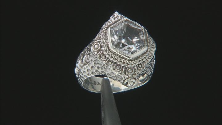 White Quartz Silver Ring 4.08ctw