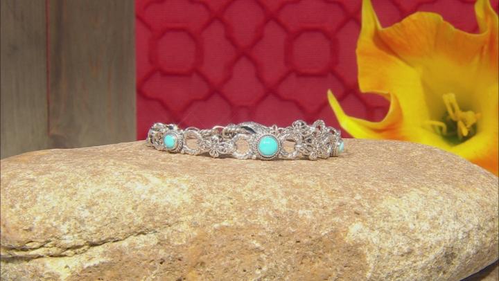 Turquoise Sleeping Beauty Silver Floral Bracelet