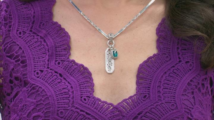 Paraiba Color Quartz Triplet Silver Pendant