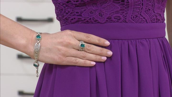 Paraiba Color Quartz Triplet Silver Ring
