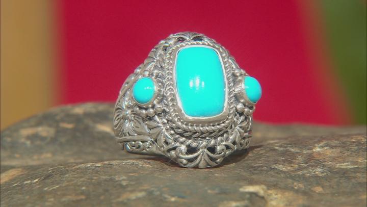 Turquoise Blue Kingman Silver Ring