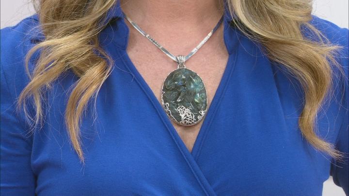 Blue Labradorite Silver Pendant