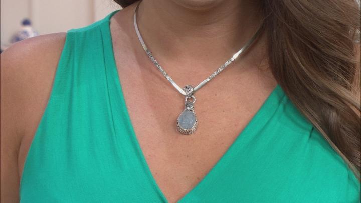 Blue Angelite Silver Pendant
