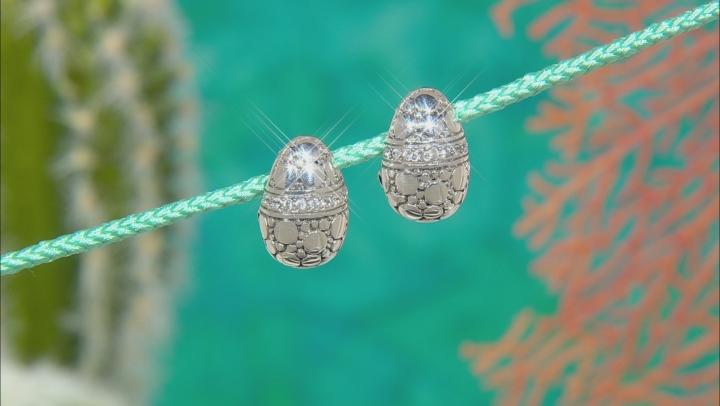 White Zircon Silver Earrings 0.72ctw