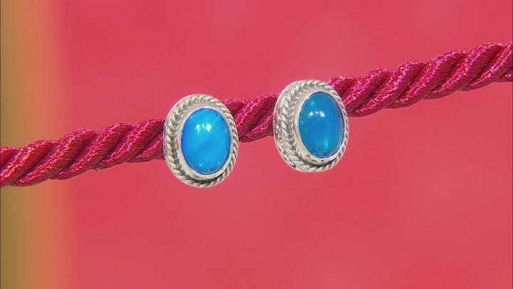 Paraiba Color Opal Silver Earrings 1.36ctw