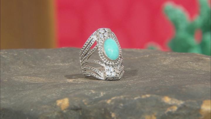 Blue Amazonite Silver Ring