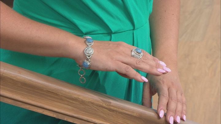 Cornflower Blue Quartzite Silver Bracelet