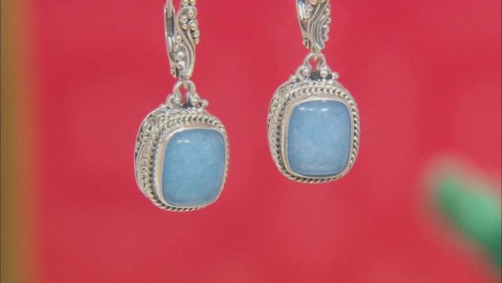 Cornflower Blue Quartzite Silver Earrings