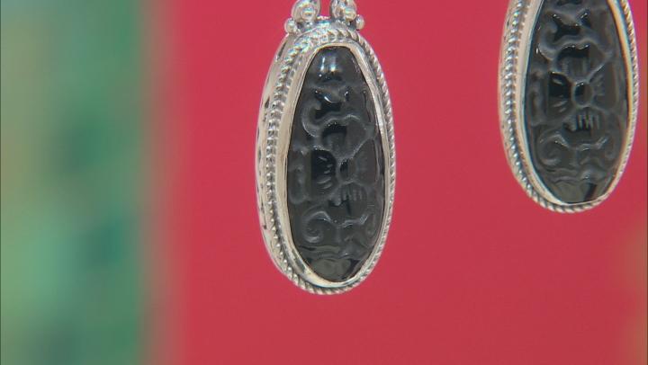 Black Obsidian Silver Earrings