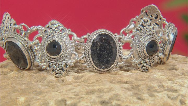 Black Rutilated Quartz Silver Bracelet 6.12ctw