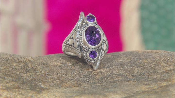 Purple Amethyst Silver Ring 2.64ctw