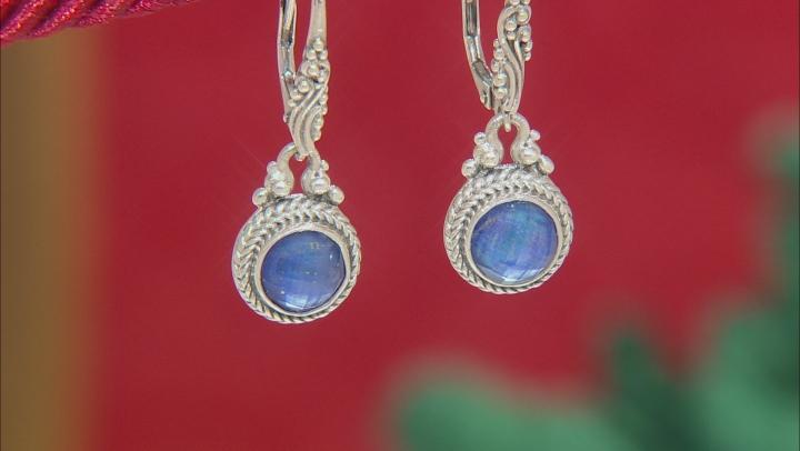 Blue Lapis Lazuli Triplet Silver Earrings