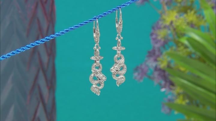 Sterling Silver Dragon Dangle Earrings