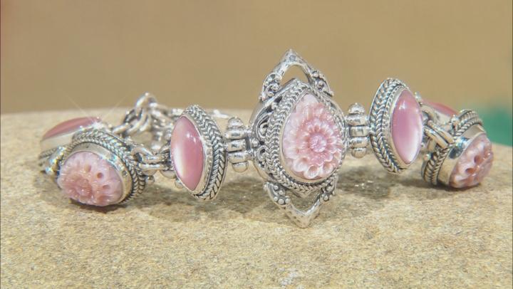 Pink Mother Of Pearl Silver Bracelet