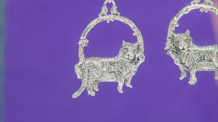 Sterling Silver Tiger Dangle Earrings