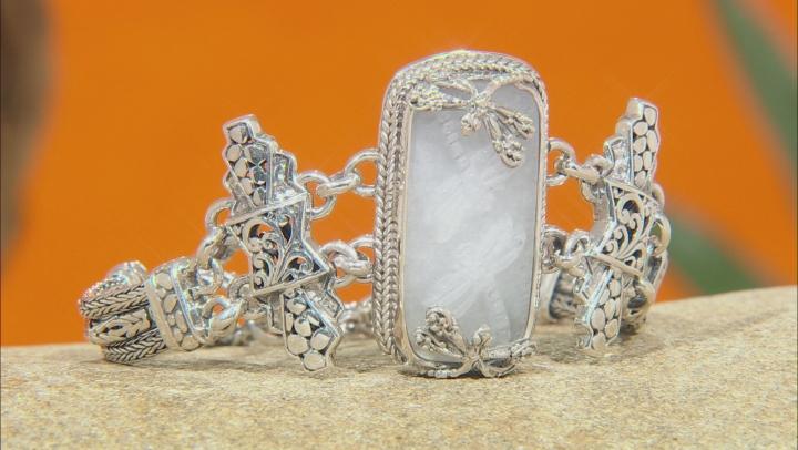 White Quartz Dragonfly Silver Bracelet