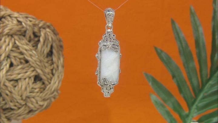 White Quartz Dragonfly Silver Pendant
