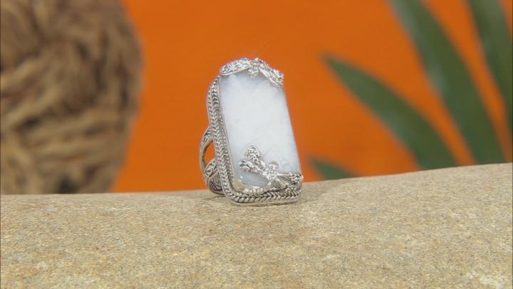 White Quartz Dragonfly Silver Ring