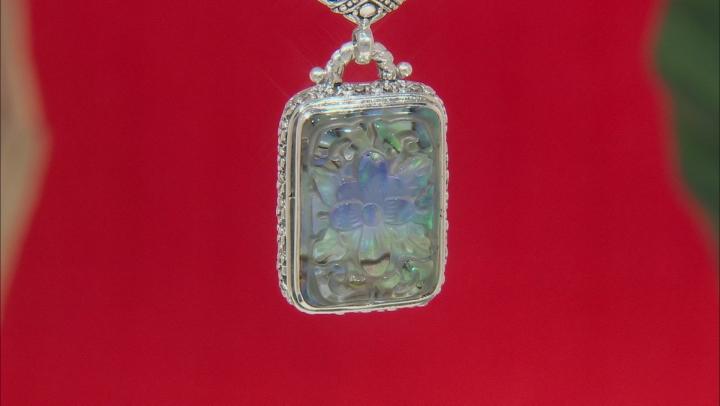 Multicolor Abalone Doublet Silver Pendant