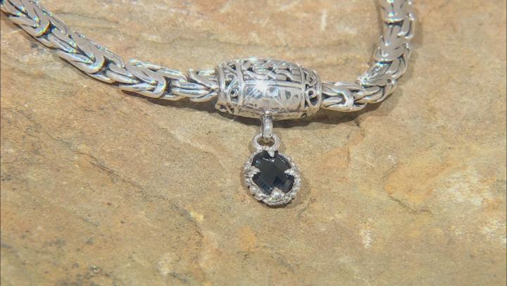 Black Spinel Silver Chain Bracelet 1.11ctw