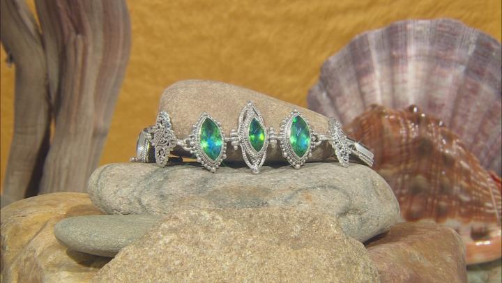 Rainbow Green Quartz Triplet Silver Bracelet