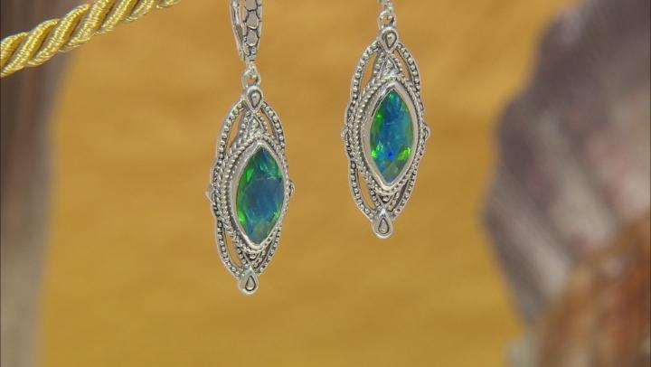 Rainbow Green Quartz Triplet Silver Earrings