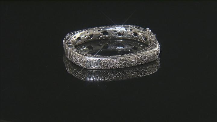 Sterling Silver Filigree Hinged Bangle Bracelet.